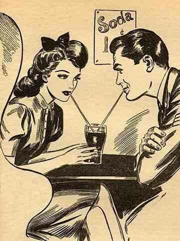 "Kristin Holt | Courting couple sharing a single glass of soda, with two straws; an iconic American ""dating"" image. This particular image shows the trademarked Coca-Cola-shaped glass and styles of the 1940s to 1950s. Image: Pinterest."