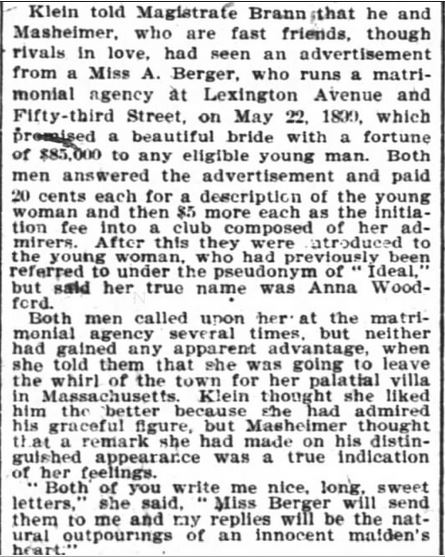 Kristin Holt | The Heiress a Chambermaid, from The New York Times of NY, NY on January 21, 1900. Part 2 of 4.