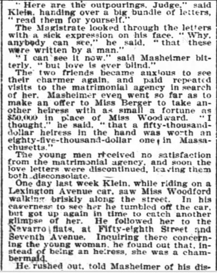 Kristin Holt | The Heiress a Chambermaid, from The New York Times of NY, NY on January 21, 1900. Part 3 of 4.