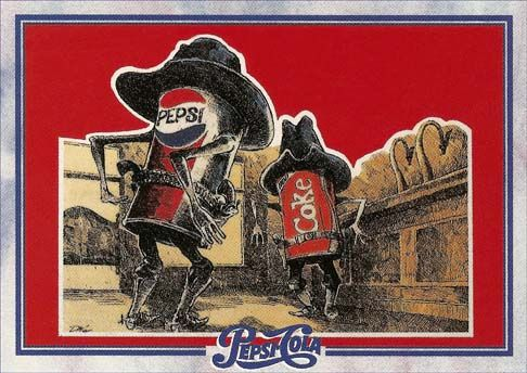 "Kristin Holt | The Victorian Root Beer War. Image: ""Cola Wars""-- Pepsi and Coke are Old West gunfighters. Pepsi-Cola Ad. Courtesy of Pinterest."