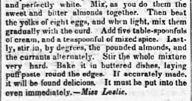 Almond Cheese Cake Recipe from an 1849 Newspaper, Part 2