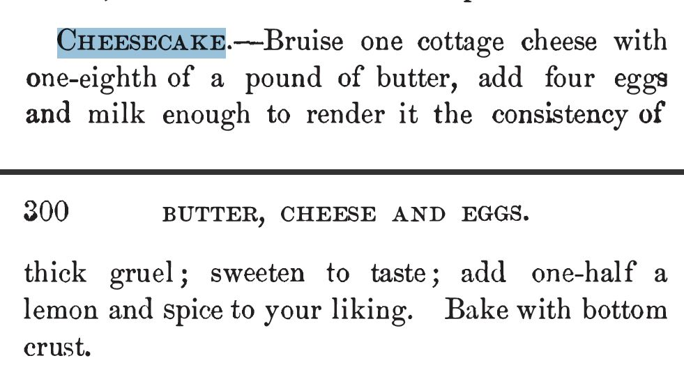 Kristin Holt | Cheesecake recipe from Our New Cook Book and Household Receipts, 1883