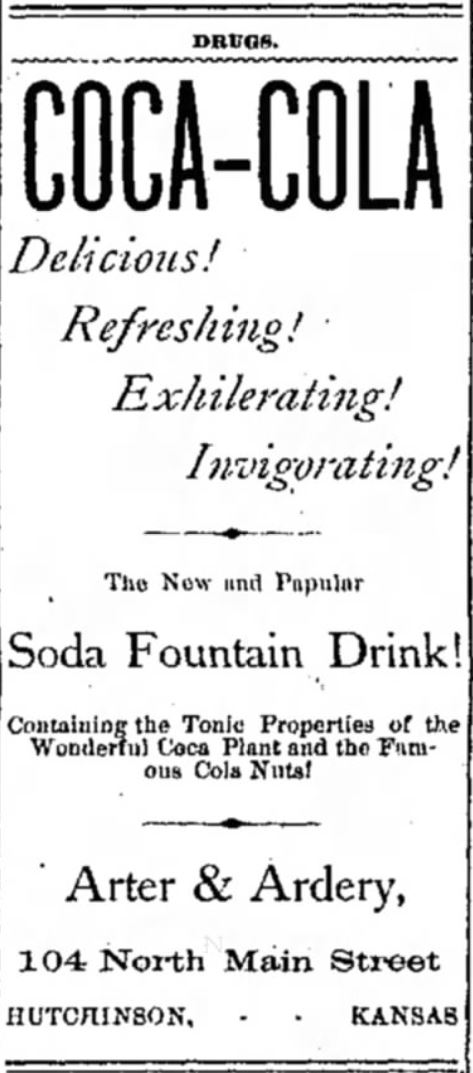 Kristin Holt | New at the Soda Fountain: Coca-Cola! Ad from The Hutchinson News of Hutchinson, Kansas. Dated July 13, 1887.