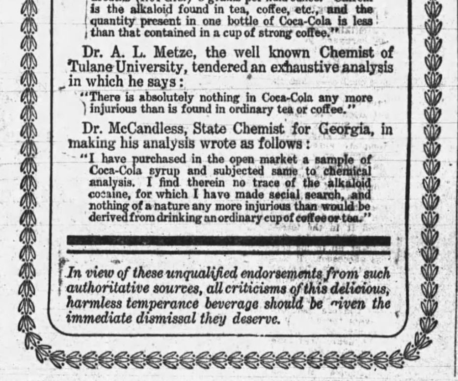 Kristin Holt | Cocaine in Victorian Coca-Cola: Going... Going... Gone? Coca-Cola Championed by Eminent Chemists. Published in Daily Arkansas Gazette of Little Rock, Arkansas, July 29, 1906. Part 2 of 2.