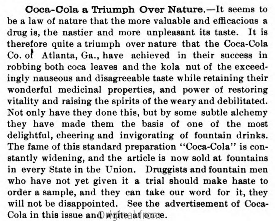 Kristin Holt | Cocaine in Victorian Coca-Cola: Going... Going... Gone? First part of an advertisement in National Druggist, 1896, p. 214, courtesy of Haithi Trust.