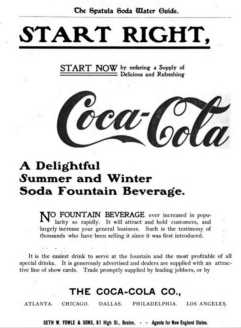 Kristin Holt | New at the Soda Fountain: Coca-Cola! Advertisement for Coca-Cola in the back of The Spatula Water Soda Guide and Book of Formulas, 1901.