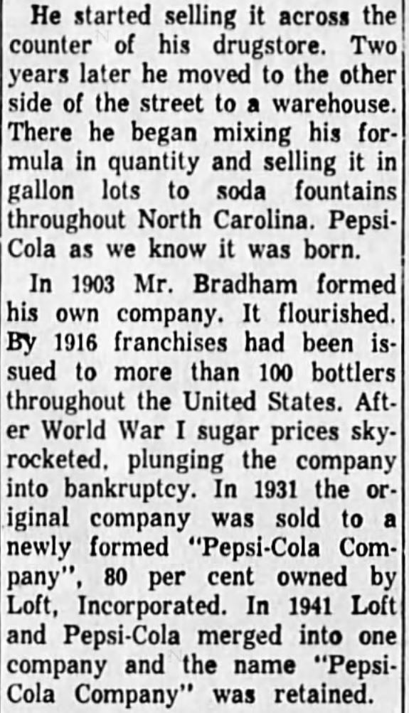 Kristin Holt | New at the Soda Fountain: Pepsi-Cola! History of Pepsi-Cola, as printed in Corvallis Gazette Times of Corvalis, Oregon, April 8, 1959. Part 2 of 2.