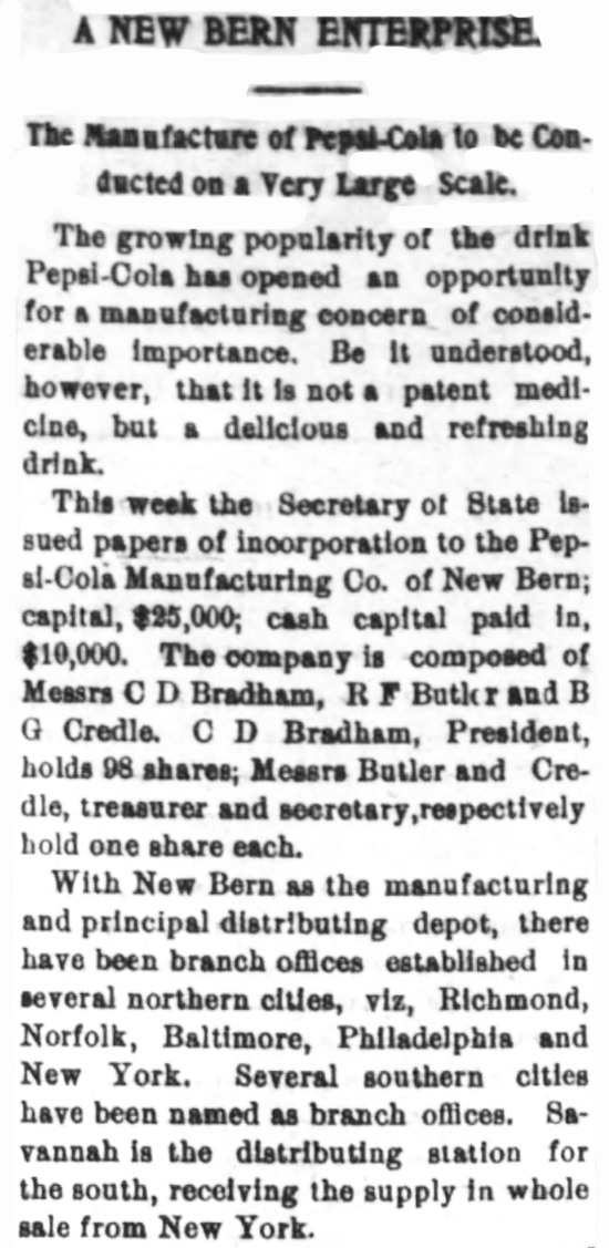 Kristin Holt | New at the Soda Fountain: Pepsi-Cola! Pepsi is not a patent medicine, is not only for summer. From New Berne Weekly Journal of New Berne, North Carolina, January 6, 1903. Part 1 of 2.