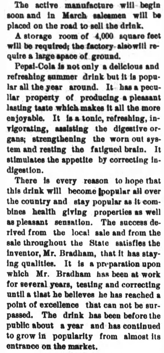 Kristin Holt | New at the Soda Fountain: Pepsi-Cola! Pepsi is not a patent medicine, is not only for summer. From New Berne Weekly Journal of New Berne, North Carolina, January 6, 1903. Part 2 of 2.