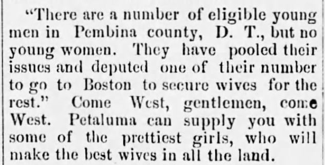 Kristin Holt | Would Frontiersmen Pool Resources for Potential Brides? Clipping from The Petaluma Courier of Petaluma, CA on March 18, 1885.