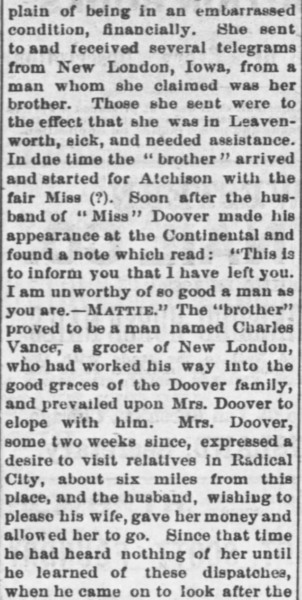 Kristin Holt | This Day in History: August 30. A Most Brutal Affair: A Married Man Elopes With Another's Wife, Leaving His Own to Die. Part 2 of 3. Fort Scott Daily Monitor of Fort Scott, Kansas. August 30, 1876.