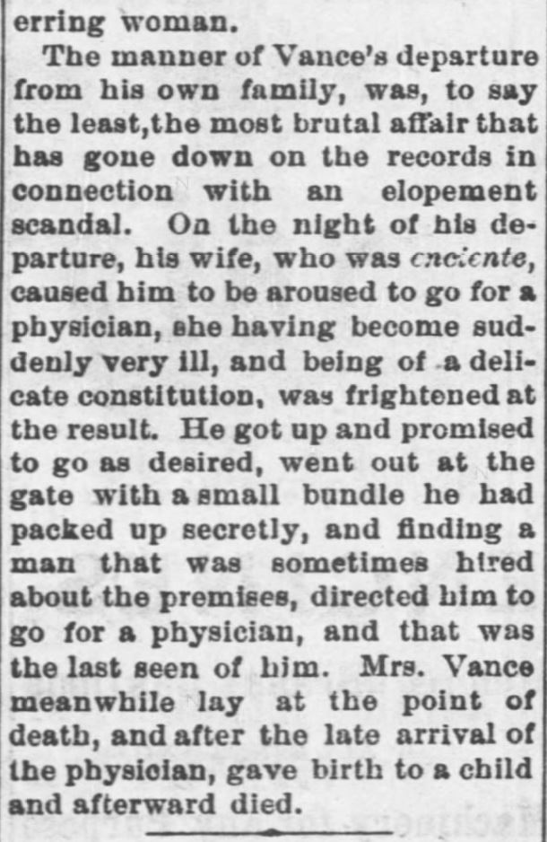 Kristin Holt | This Day in History: August 30. A Most Brutal Affair: A Married Man Elopes With Another's Wife, Leaving His Own to Die. Part 3 of 3. Fort Scott Daily Monitor of Fort Scott, Kansas. August 30, 1876.