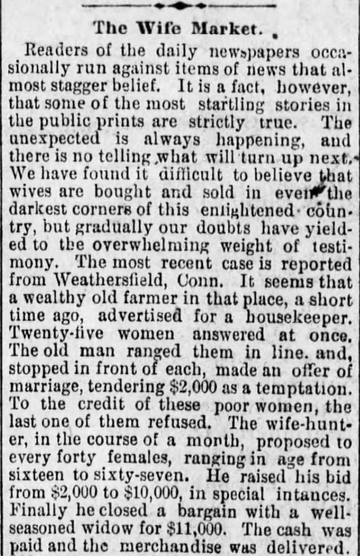 Kristin Holt | For Sale: WIFE (Part 1): The Wife Market, Part 1 of 3, published in Vicksburg Evening Post of Vicksburg, Mississippi on June 30, 1886.