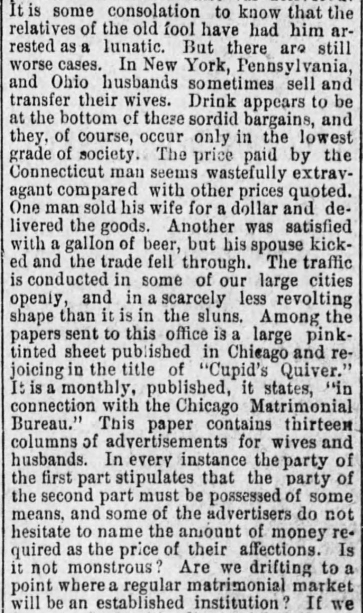 Kristin Holt | For Sale: WIFE (Part 1): The Wife Market, Part 2 of 3, published in Vicksburg Evening Post of Vicksburg, Mississippi on June 30, 1886.