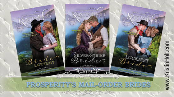 Kristin Holt | Prosperity's Mail-Order Brides Series. Stylized image shows the first three books' covers.