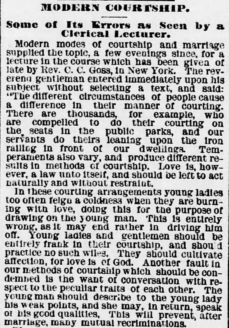 Kristin Holt | Vintage Newspaper Article- Errors of MODERN COURTSHIP: Some of Its Errors as Seen by a Clerical Lecturer. Published in Evening Star of Washington D.C. on January 15, 1881. Part 1 of 2.