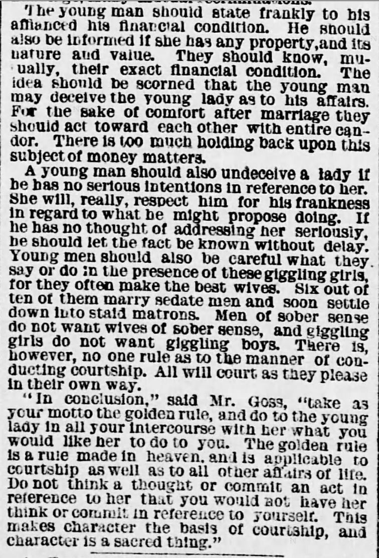 Kristin Holt | Vintage Newspaper Article- Errors of MODERN COURTSHIP: Some of Its Errors as Seen by a Clerical Lecturer. Published in Evening Star of Washington D.C. on January 15, 1881. Part 2 of 2.