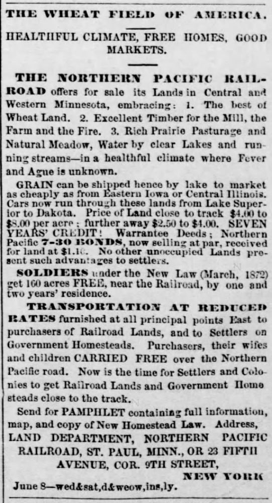 Kristin Holt | BOOK REVIEW: With You Always by Jody Hedlund. The Wheat Field of America. The Northern Pacific Railroad offers for sale its Lands in Central and Western Minneosta. The Burlington Free Press of Burlington, Vermont. July 2, 1873.