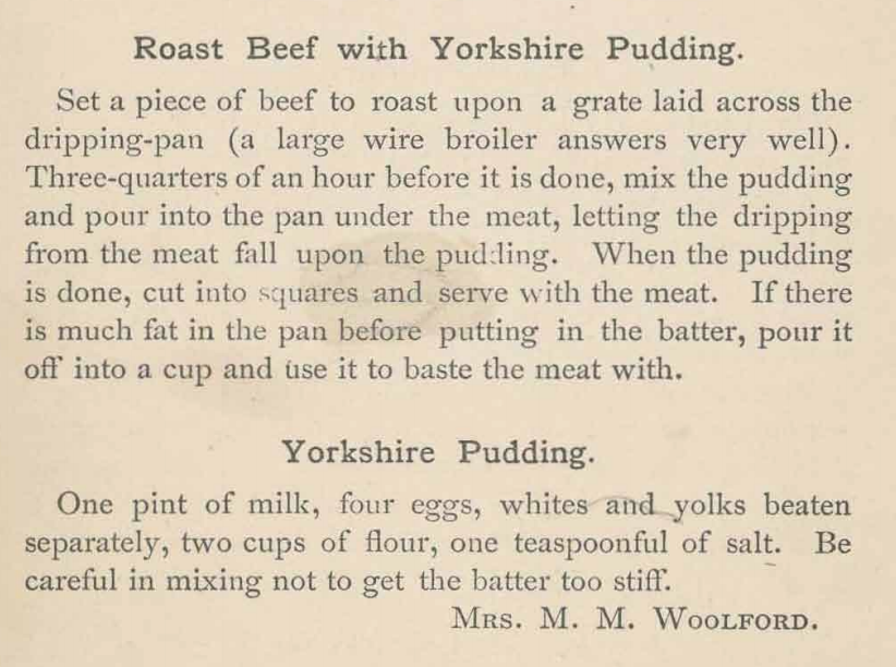 Kristin Holt | Victorian Fare: Yorkshire Pudding. Roast Beef with Yorkshire Pudding recipes and instructions from Woman Suffrage Cook Book, 2nd Edition, 1886, copyright Hattie A. Burr.