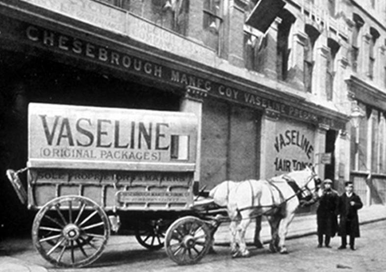 Kristin Holt | Vaseline: a Victorian Product? Vintage photograph of Vaseline-branded wagon drawn by two white horses. Image: public domain, courtesy of Wikipedia, from Vaseline's Company Archives.