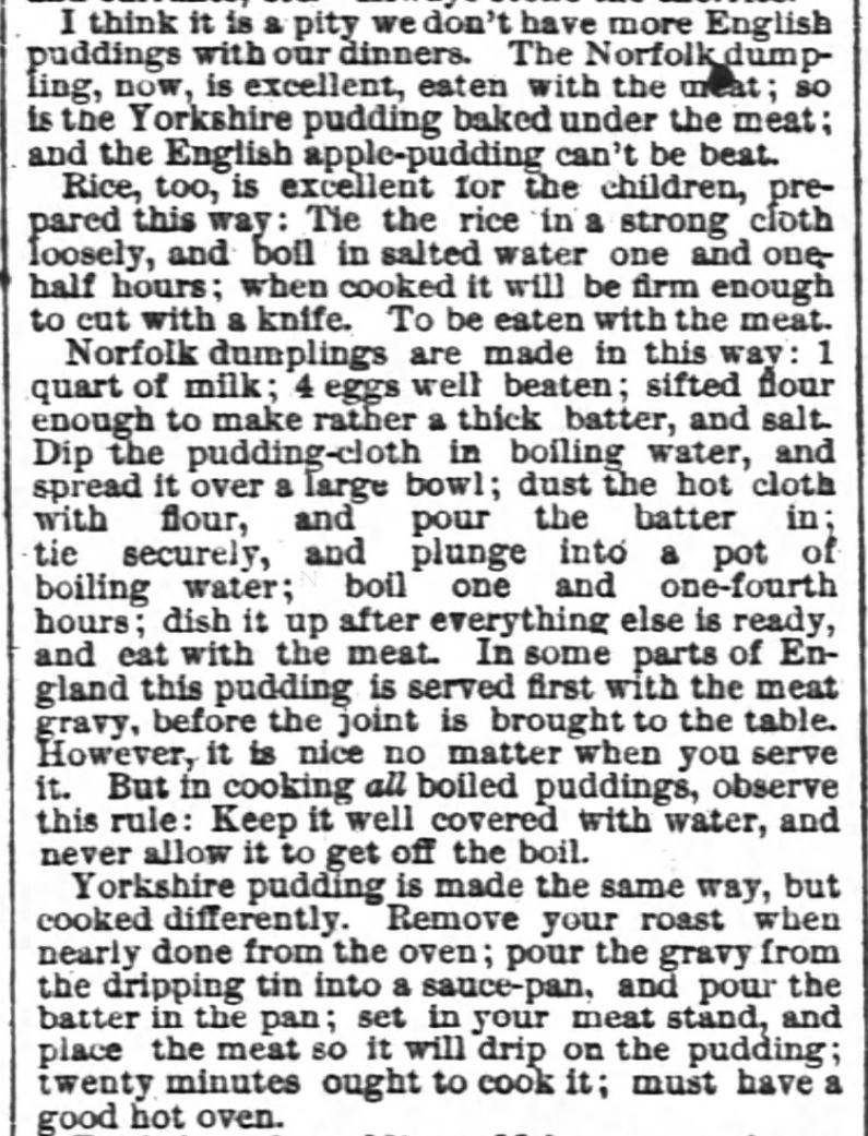 Kristin Holt | Victorian Fare: Yorkshire Pudding. True recipe instructions for Yorkshire Pudding. Chicago Tribune of Chicago, Illinois, June 17, 1876.