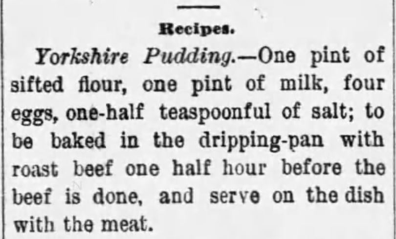 Kristin Holt | Victorian Fare: Yorkshire Pudding. Recipe for Yorkshire Pudding, The Coctaw Herald of Butler, Alabama, October 28, 1885.