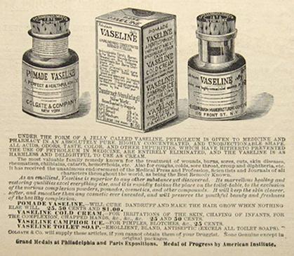 Kristin Holt | Vaseline: a Victorian Product? Vintage Vaseline advertisement, illustrated, Circa 1881.