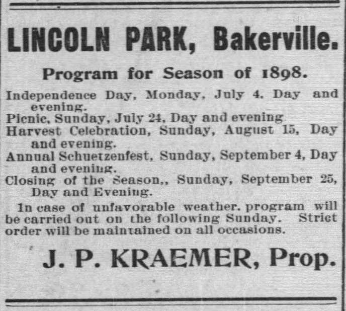 Kristin Holt   Victorian America's Harvest Celebrations. Program for the (summer) Season of 1898, including festivities from Independence Day through close of the season, September 25th. From The Marshfield News and Wisconsin Hub of Marshviled, Wisconsin on September 8, 1898.