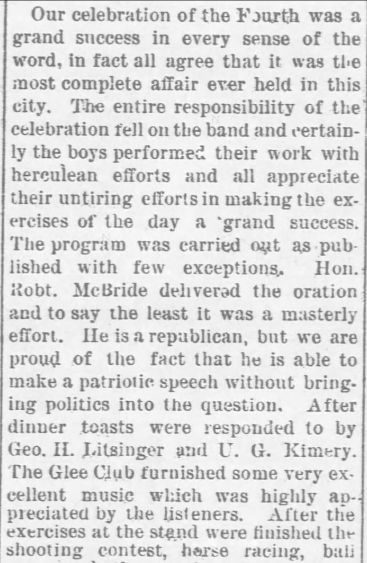 Kristin Holt | Shooting Contests in Victorian America. Fourth of July Celebration includes Shooting Contest. Cortland Register of Cortland, Kansas, July 8, 1892.