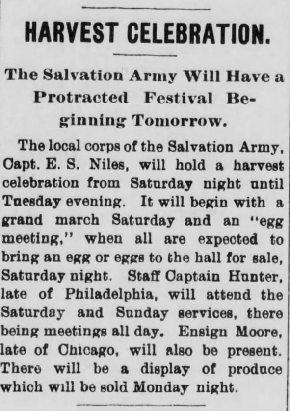 """Kristin Holt   Victorian America's Harvest Celebrations. Newspaper article: """"Harvest Celebration. The Salvation Army Will Have a Protracted Festival Beginning Tomorrow,"""" from The Evening Review of East Liverpool, Ohio. September 29, 1899."""