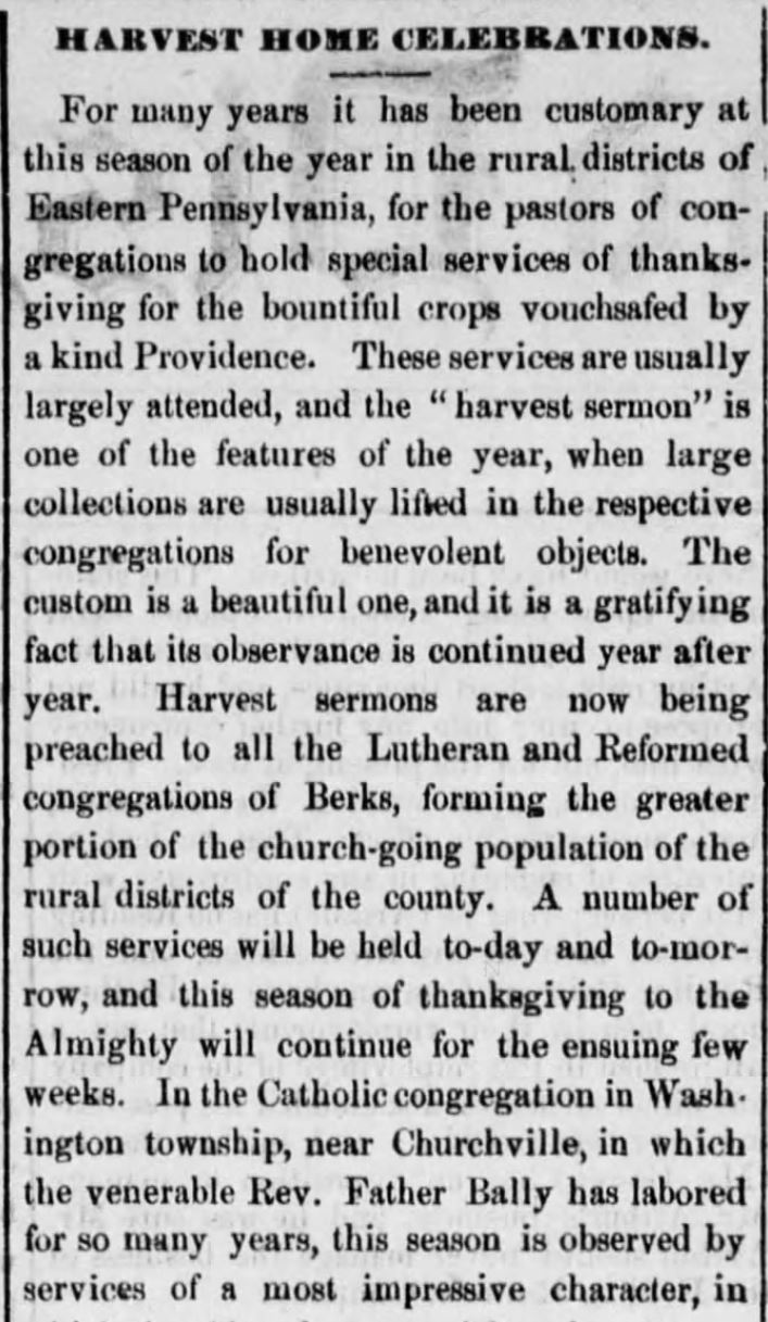 """Kristin Holt   Victorian America's Harvest Celebrations. A newspaper article titled """"Harvest Home Celebrations,"""" from Reading Times of Reading, Pennsylvania, August 4, 1877. Part 1 of 4."""