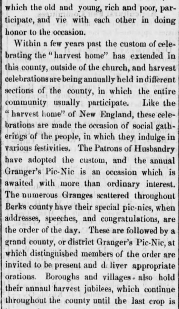 """Kristin Holt   Victorian America's Harvest Celebrations. A newspaper article titled """"Harvest Home Celebrations,"""" from Reading Times of Reading, Pennsylvania, August 4, 1877. Part 2 of 4."""