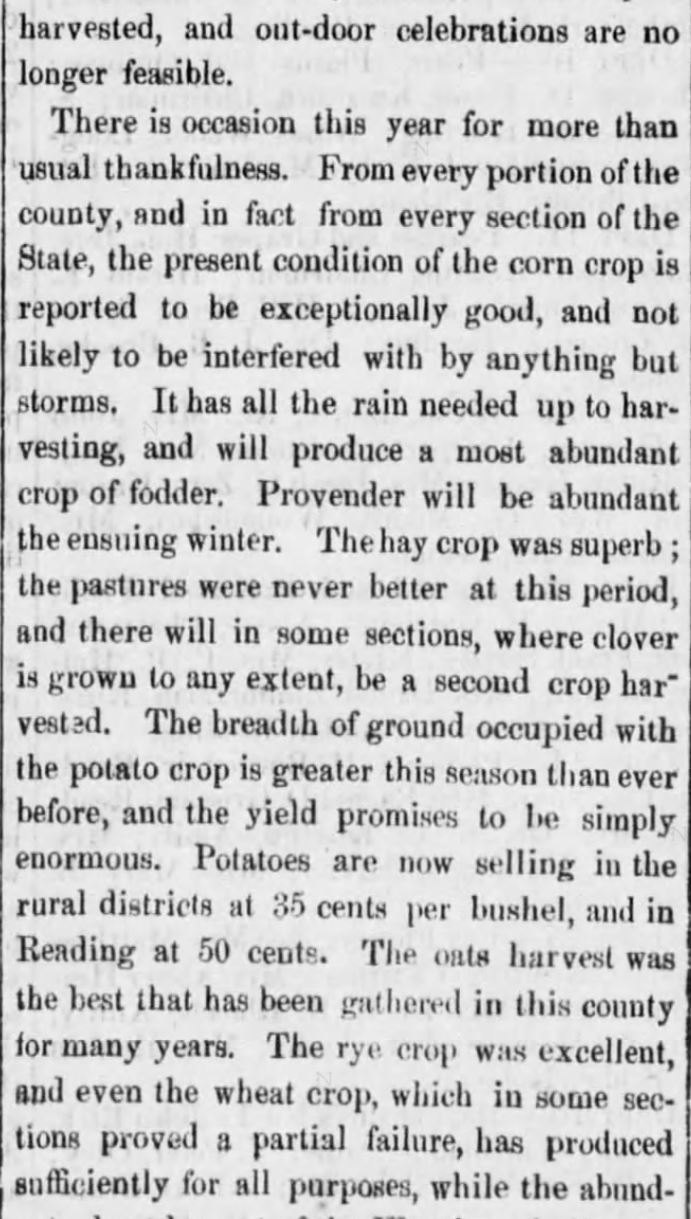 """Kristin Holt   Victorian America's Harvest Celebrations. A newspaper article titled """"Harvest Home Celebrations,"""" from Reading Times of Reading, Pennsylvania, August 4, 1877. Part 3 of 4."""