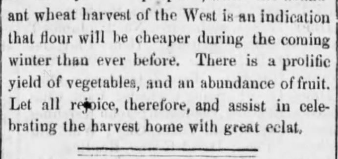 """Kristin Holt   Victorian America's Harvest Celebrations. A newspaper article titled """"Harvest Home Celebrations,"""" from Reading Times of Reading, Pennsylvania, August 4, 1877. Part 4 of 4."""