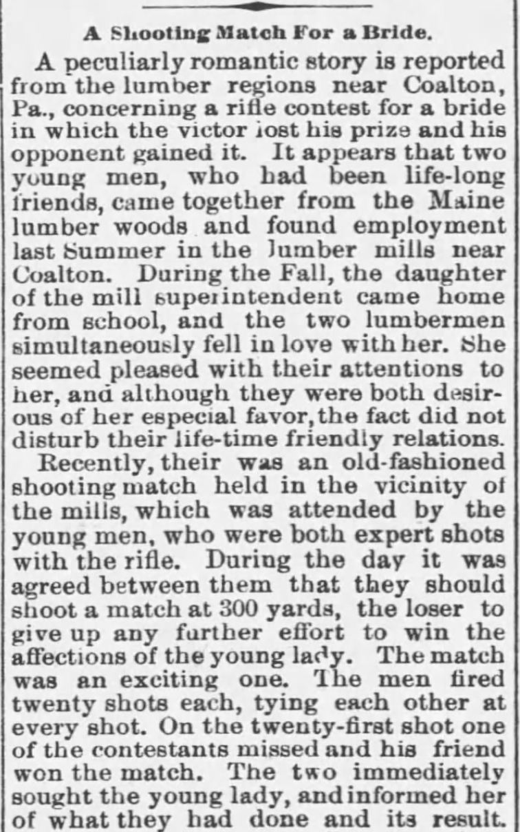 Kristin Holt | Shooting Contests in Victorian America. A Shooting Match for a Bride, part 1. Arkansas Valley Democrat of Arkansas City, Kansas, March 20, 1885.