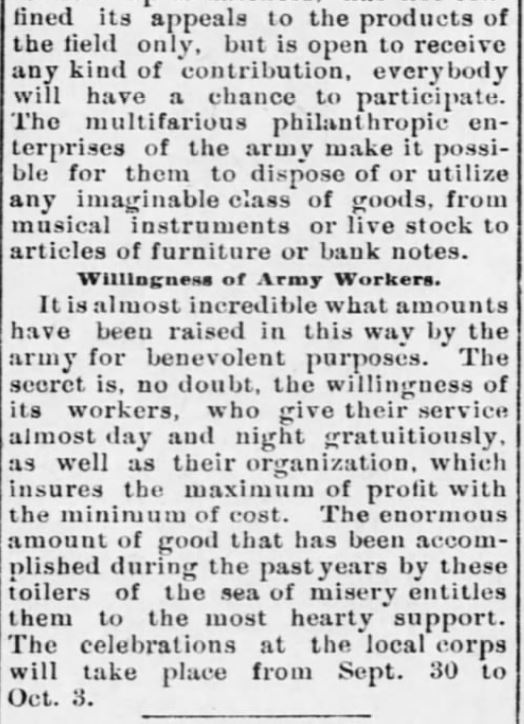 """Kristin Holt   Victorian America's Harvest Celebrations. Newspaper Article: For Year of Plenty, Celebrations to Be Conducted Here by the Salvation Army. Thanksgiving at Harvest Time."""" From The Rock Island Argus and Daily Union of Rock Island, Illinoins on September 27, 1899. Part 2 of 2."""