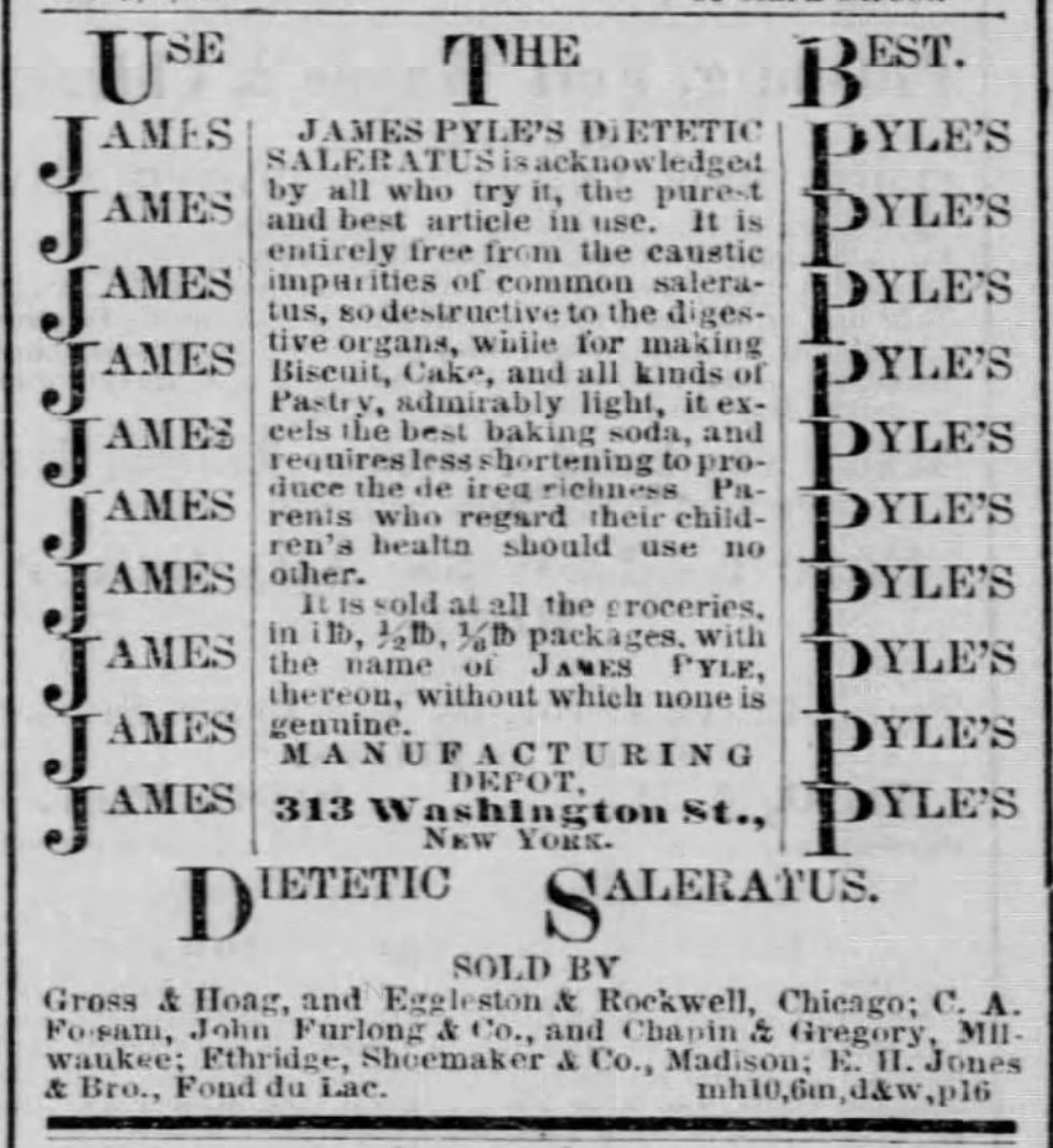 Kristin Holt | Victorian Baking: Saleratus, Baking Soda, and Salsoda. James Pyle's Dietetic Saleratus, advertised in <em>Chicago Tribune</em> of Chicago, Illinois, on May 11, <strong>1857</strong>.