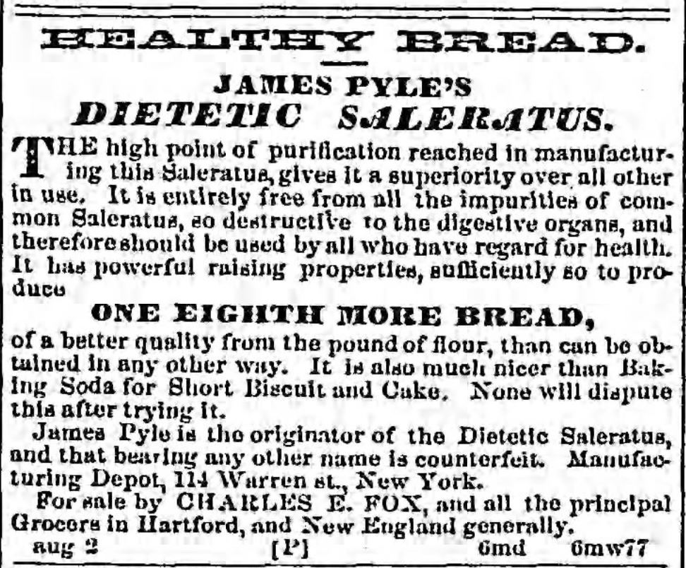 Kristin Holt | Victorian Baking: Saleratus, Baking Soda, and Salsoda. Dietetic Saleratus advertised in <em>Hartford Courant</em> of Hartford, Connecticut on September 25, <strong>1856</strong>.