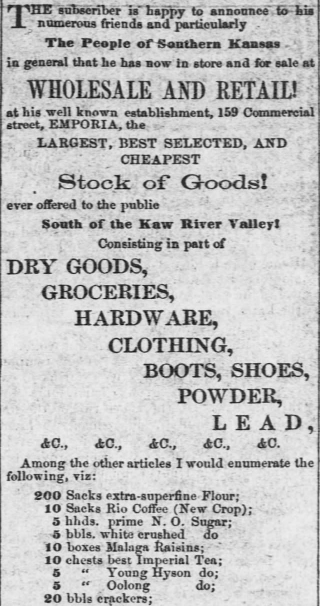 Kristin Holt | Victorian Baking: Saleratus, Baking Soda, and Salsoda. Grocer Carries Baking Soda. Advertised in <em>The Emporia Weekly News</em> of Emporia, Kansas, on November 27, <strong>1858</strong>. Part 1 of 2.