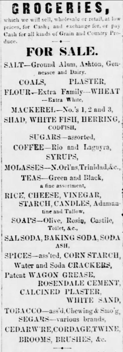 Kristin Holt | Victorian Baking: Saleratus, Baking Soda, and Salsoda. Groceries Advertisement in <em>Lewisburg Chronicle</em> of Lewisburg, Pennsylvania on May 21, <strong>1858</strong>. Calling attention to products on hand: Salsoda, Baking Soda, Soda Ash, and more.