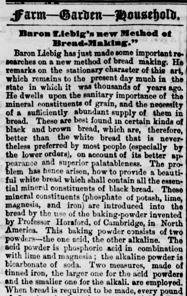 Kristin Holt | Victorian Baking: Saleratus, Baking Soda, and Salsoda. <strong>How and Why Baking Powder is Made</strong>, published in <em>The Ottawa Free Trader</em> of Ottawa, Illinois, on June 19, <strong>1869</strong>. Part 1 of 3.