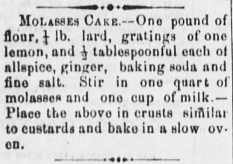 Kristin Holt | Victorian Baking: Saleratus, Baking Soda, and Salsoda. Molasses Cake Recipe (with Baking Soda). Printed in <em>Lancaster Gazette</em> of Lancaster, Ohio on April 1, <strong>1869</strong>.