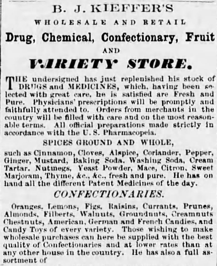 Kristin Holt | Victorian Baking: Saleratus, Baking Soda, and Salsoda. <strong>Baking Soda</strong> and <strong>Yeast Powder</strong> sold, alongside <strong>Washing Soda</strong>, and Cream Tartar. Advertised in <em>Carlisle Weekly Herald</em> of Carlisle, Pennsylvania on September 22, <strong>1858</strong>.