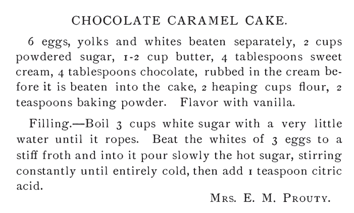 Kristin Holt | Chocolate Caramel Cake Recipe, published in 1882 (Our Home Favorite Cook Book)
