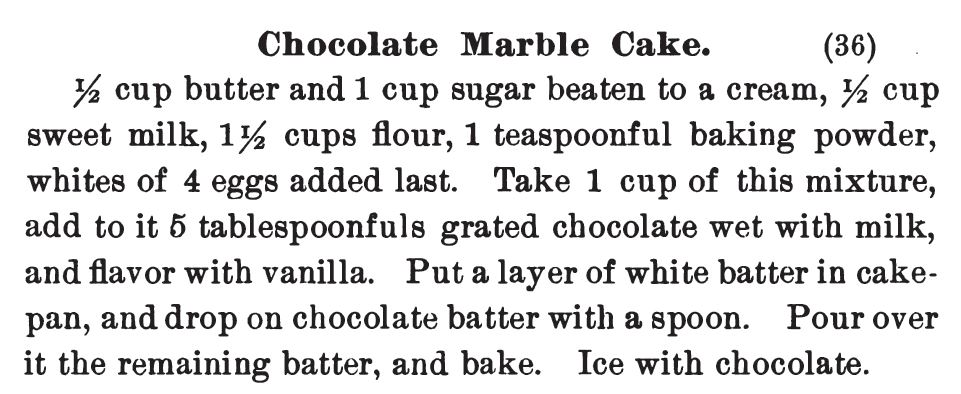Kristin Holt | Victorian Baking: Devil's Food Cake ~ Chocolate Marble Cake from Three Hundred Tested Recipes, 2nd edition, 1895.