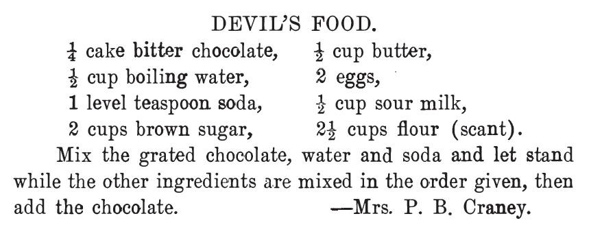 Kristin Holt | Victorian Baking: Devil's Food Cake ~ Devil's Food Cake Recipe, The West Bend Cook Book, 1908.