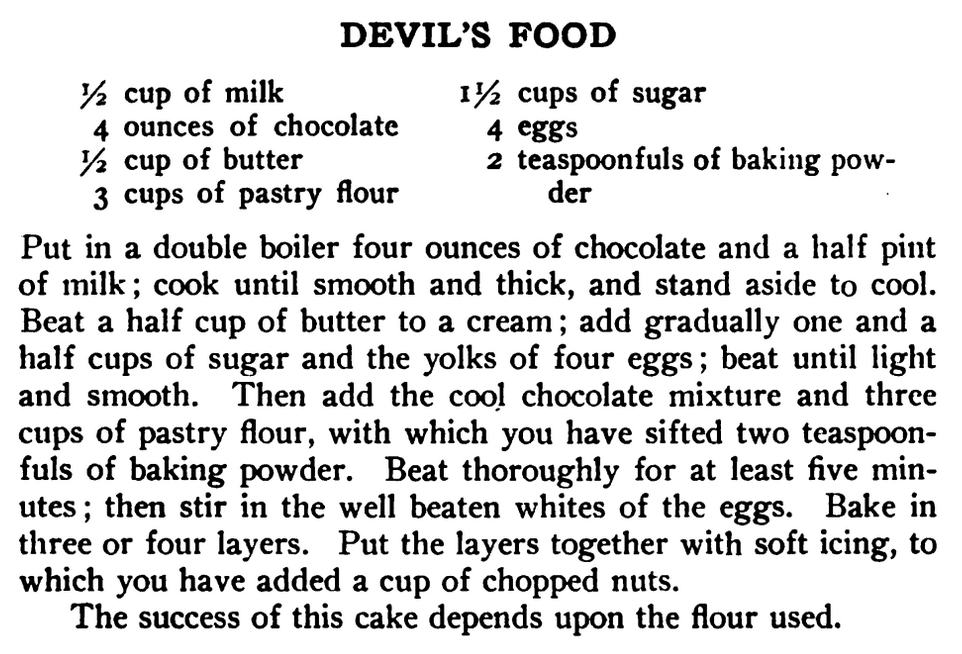 Kristin Holt | Victorian Baking: Devil's Food Cake ~ Devil's Food Recipe published in Mrs. Rorer's New Cook Book; A Manual of Housekeeping, published in 1902.