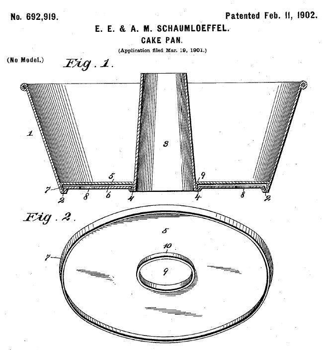 Kristin Holt | United States Patent No. 692,919 for a circular cake pan with central cone (an angel food cake pan). Related to Victorian Baking: Angel's Food Cake.