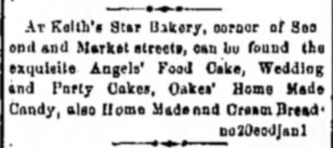 Kristin Holt | Keith's Star Bakery sells exquisite Angels' Food Cake, etc. (Illinois, 1878) Related to Victorian Baking: Angel's Food Cake.