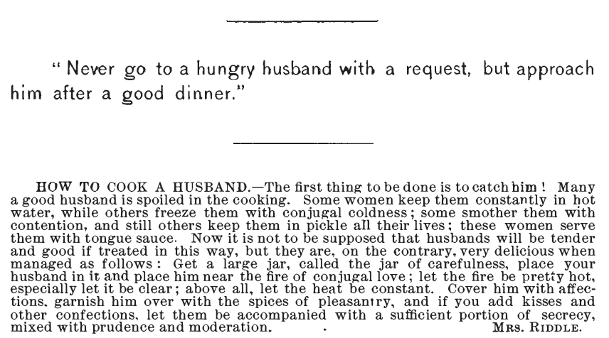 """Kristin Holt   Victorians Say """"I Love You."""" Victorian American Housewives understood that romantic love requires attention, nurturing, respect, and demonstrations of love. Published in Receipt Book: Improvement Society of the Second Reformed Church of new Brunswick, New Jersey, in 1890."""